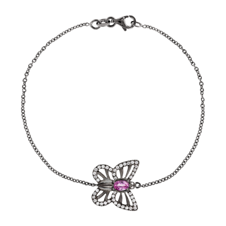 Papillon Bracelet Tourmaline pink in White Gold