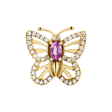 Papillon Pin Sapphire pink in Yellow Gold