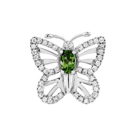 Papillon Pin Tourmaline green in White Gold