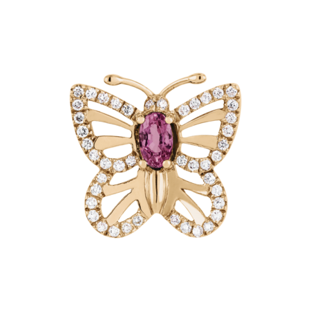 Papillon Pin Tourmaline pink in Rose Gold
