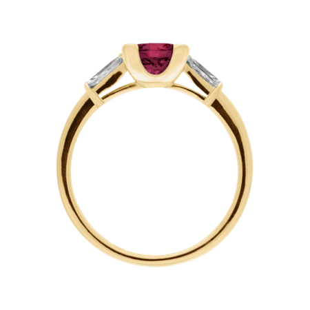 Paris Rhodolite red in Yellow Gold