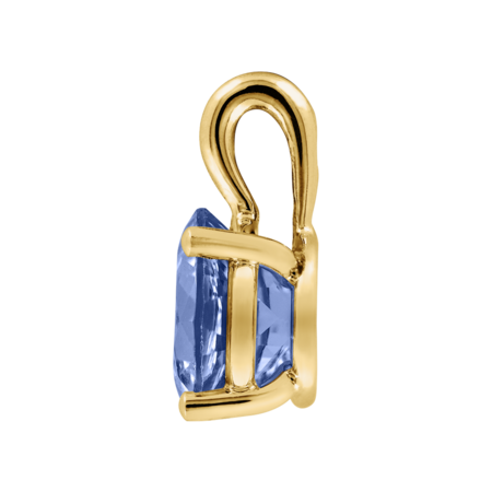 Pendant 3 Prongs Tanzanite blue in Yellow Gold