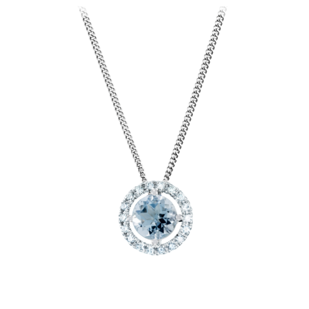 Pendant Halo Aquamarine blue in Platinum