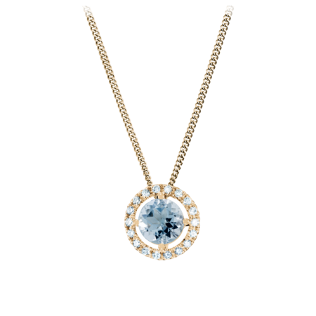 Pendant Halo Aquamarine blue in Rose Gold