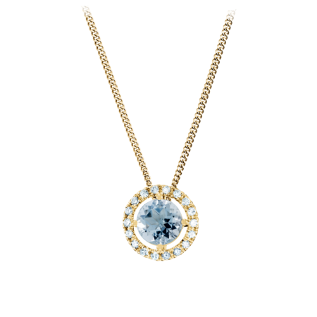 Pendant Halo Aquamarine blue in Yellow Gold