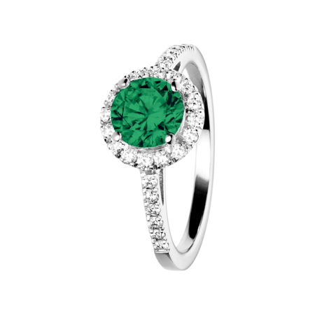 Prague Emerald green in White Gold