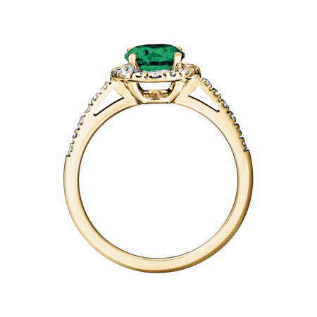 Prague Emerald green in Yellow Gold