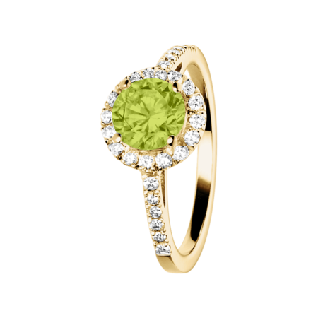 Prague Peridot green in Yellow Gold