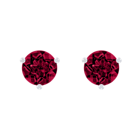 Stud Earrings 3 Prongs Ruby red in White Gold