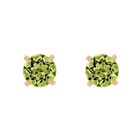 Stud Earrings 4 Prongs Peridot green in Rose Gold