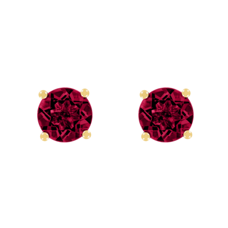 Stud Earrings 4 Prongs Ruby red in Yellow Gold