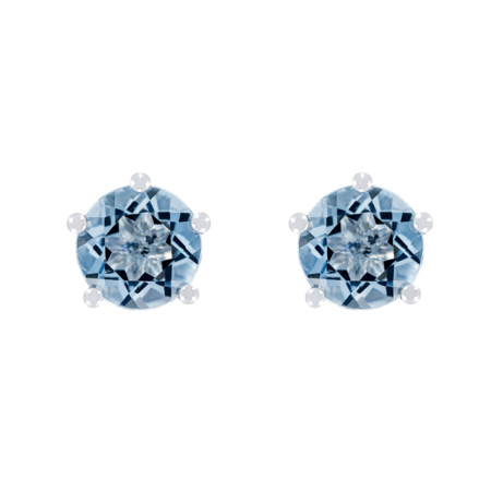 Stud Earrings 5 Prongs Aquamarine blue in White Gold