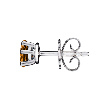 Stud Earrings 5 Prongs Madeira Citrine orange in White Gold
