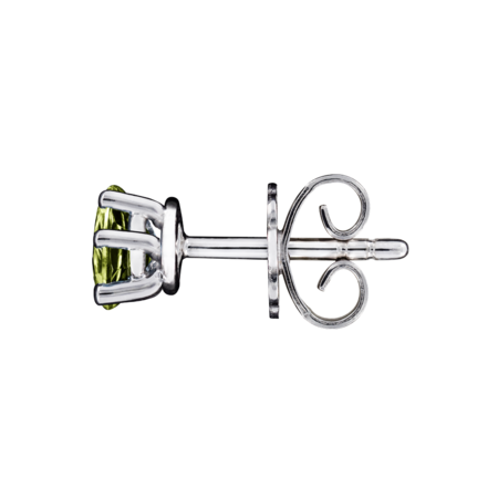 Stud Earrings 5 Prongs Peridot green in Platinum