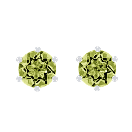 Stud Earrings 6 Prongs Peridot green in White Gold