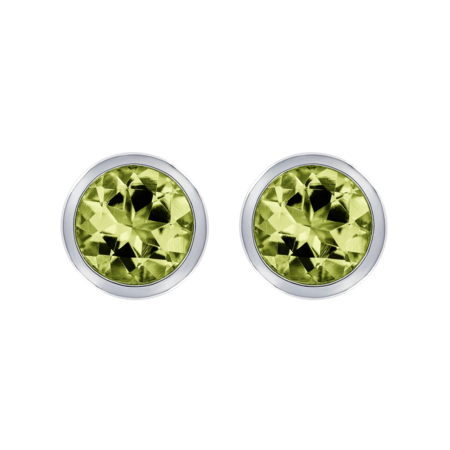 Stud Earrings Bezel Peridot green in White Gold