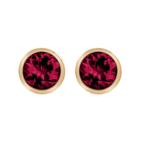 Stud Earrings Bezel Ruby red in Rose Gold