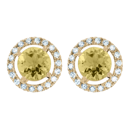 Stud Earrings Halo Sapphire yellow in Yellow Gold