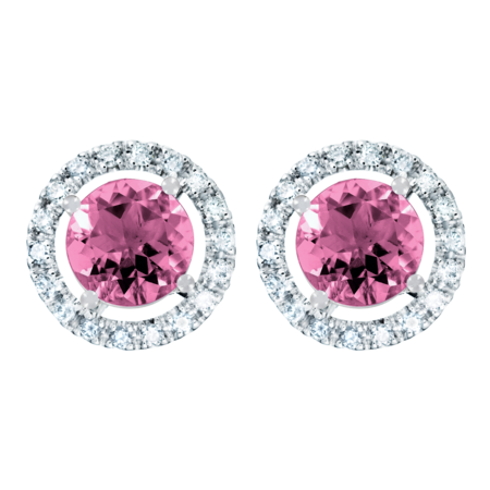 Stud Earrings Halo Tourmaline pink in White Gold