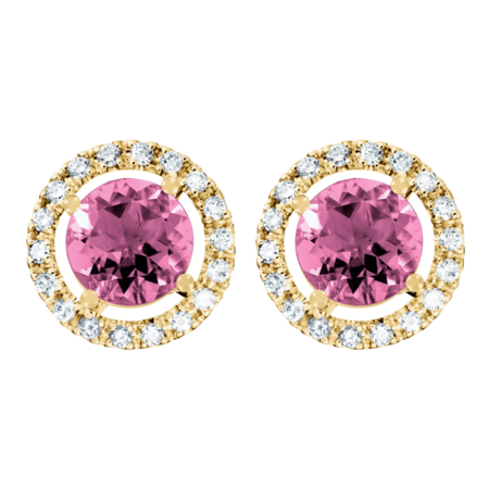 Stud Earrings Halo Tourmaline pink in Yellow Gold