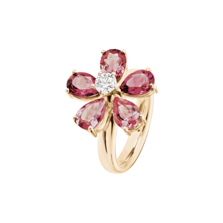 Bague Flowers Tourmaline in Or rose