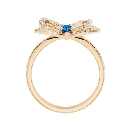 Bague Papillon Aigue-marine in Or rose