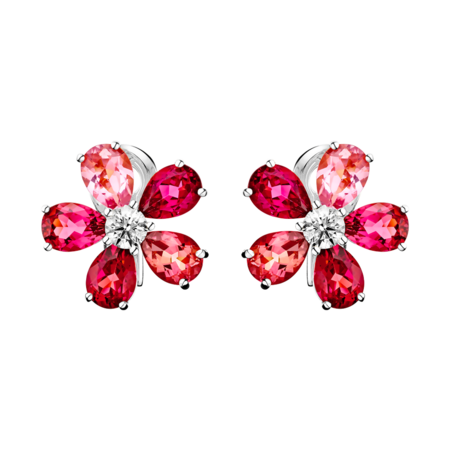 Boucles d'oreilles Flowers Tourmaline in Or gris