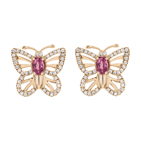Boucles d'oreilles Papillon Tourmaline in Or rose