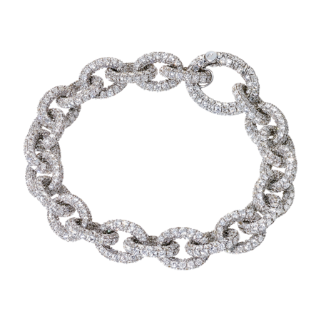 Bracelet Anchor Chain  Blanc in Or gris