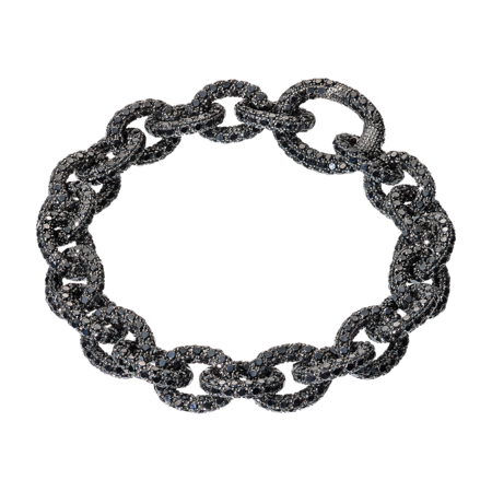 Bracelet Anchor Chain Noir in Or gris