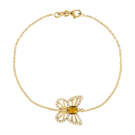 Bracelet Papillon Citrine in Or jaune