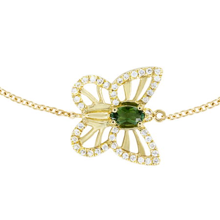 Bracelet Papillon Tourmaline Verte in Or jaune