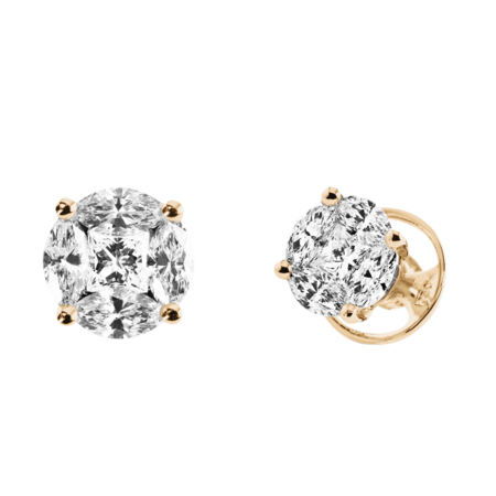 Clous d'oreilles Composition Diamant in Or rose