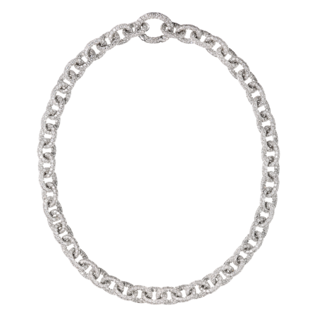 Collier Anchor Chain Blanc in Or gris