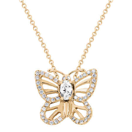 Collier Papillon Diamant in Or rose