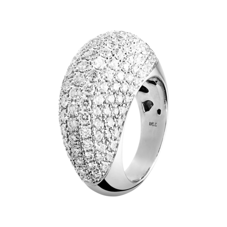 Diamond Snow Bague Ovale in Or gris