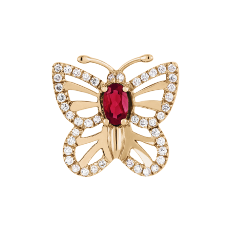 Pin Papillon Rubis in Or rose