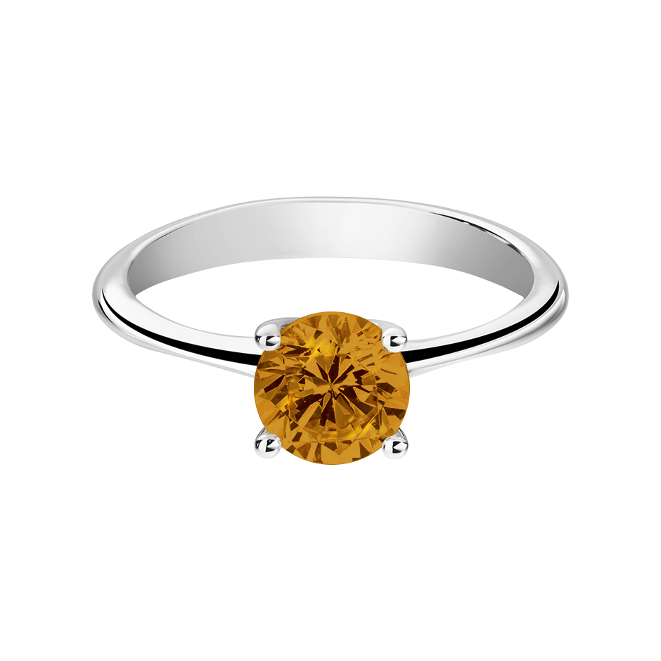 Basel Madeira Citrine orange in Platinum