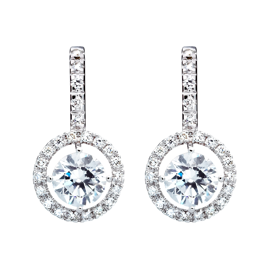 Boucles d'oreilles Halo Diamant avec brillants in Or gris