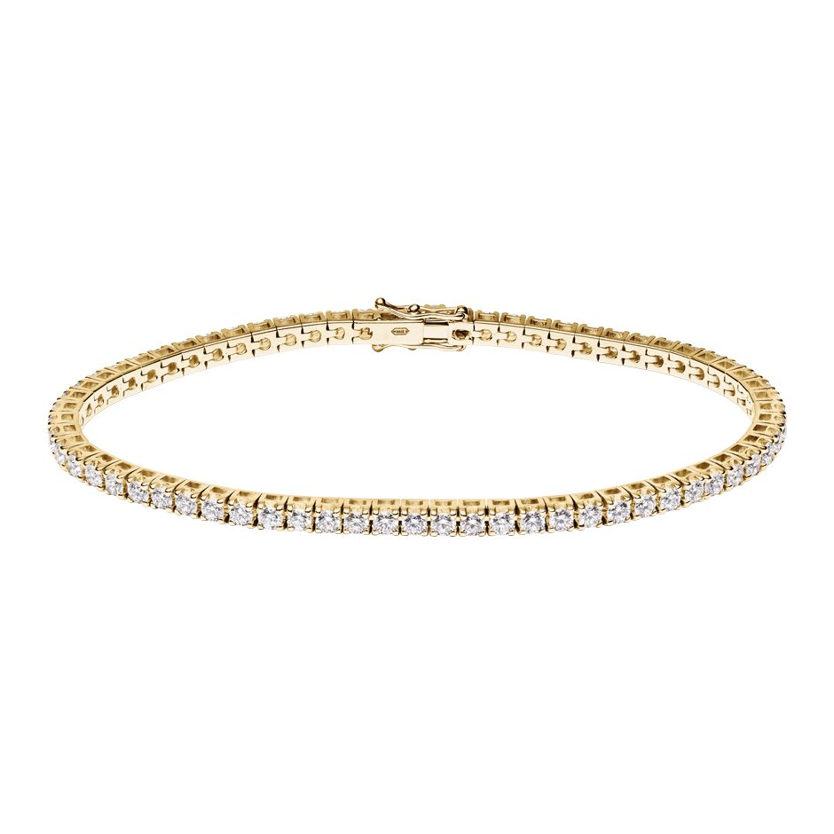 Bracelet Tennis 3,28ct in Or jaune