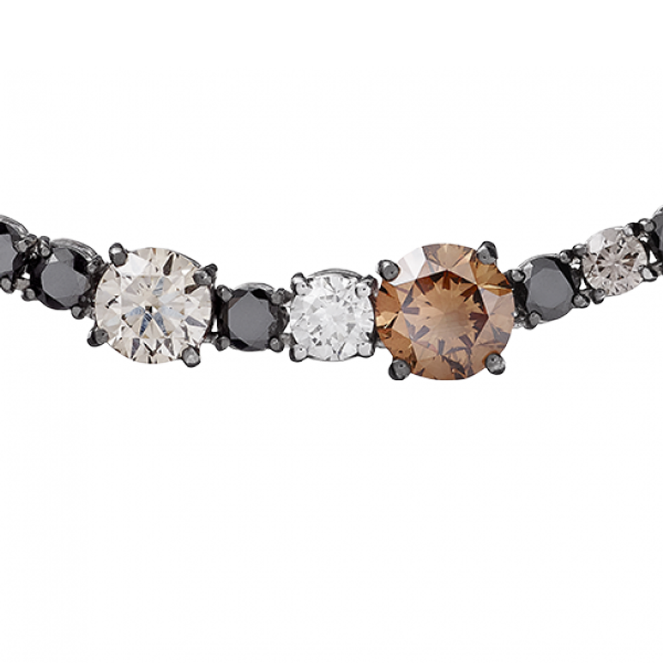Collier Fancy Coloured Diamonds in Or gris