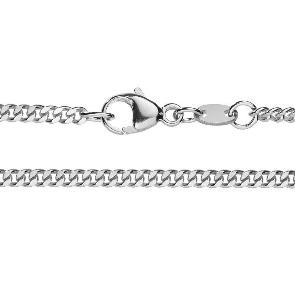 Curb Chain Necklace in White Gold