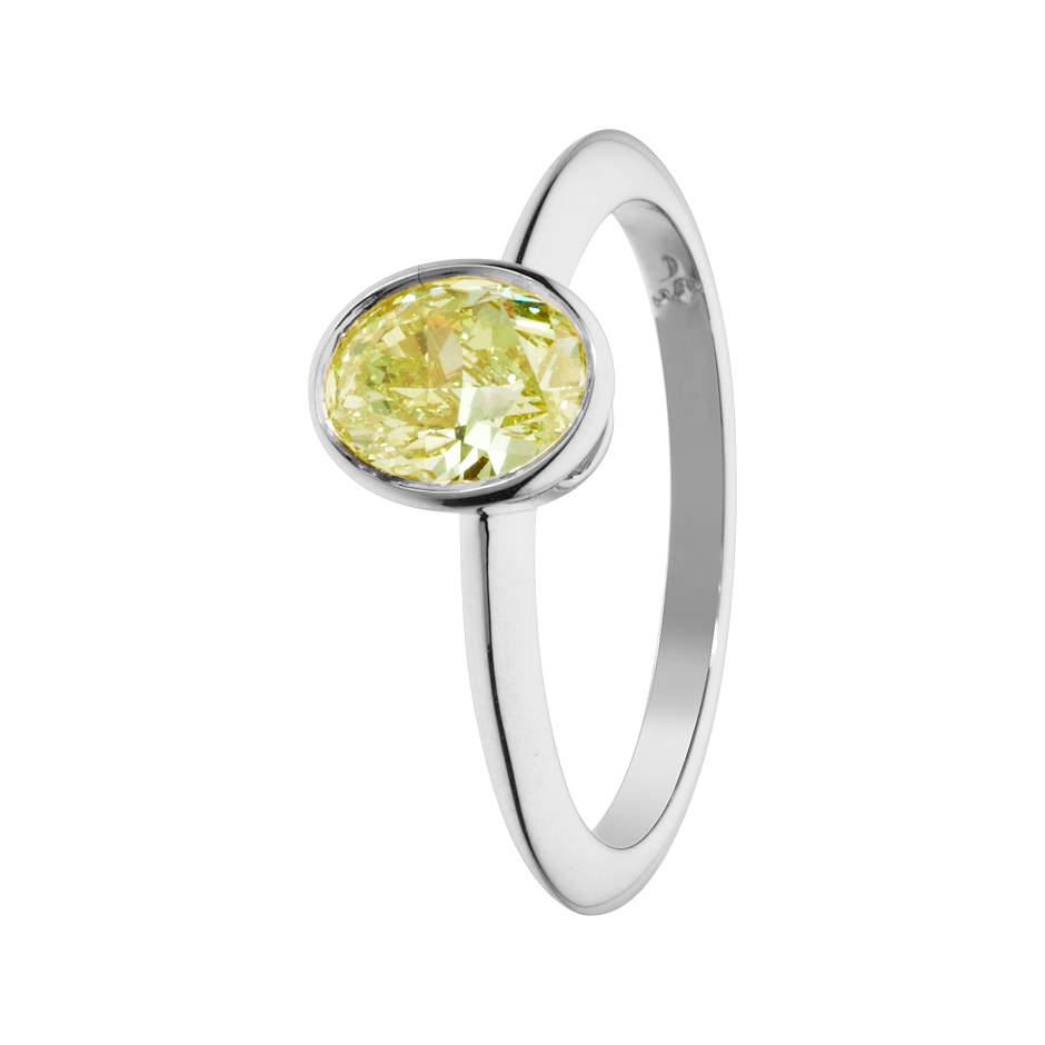 Diamantring Fancy Yellow in Platin