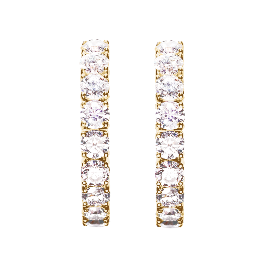 Diamond Hoop Earrings VI in Yellow Gold