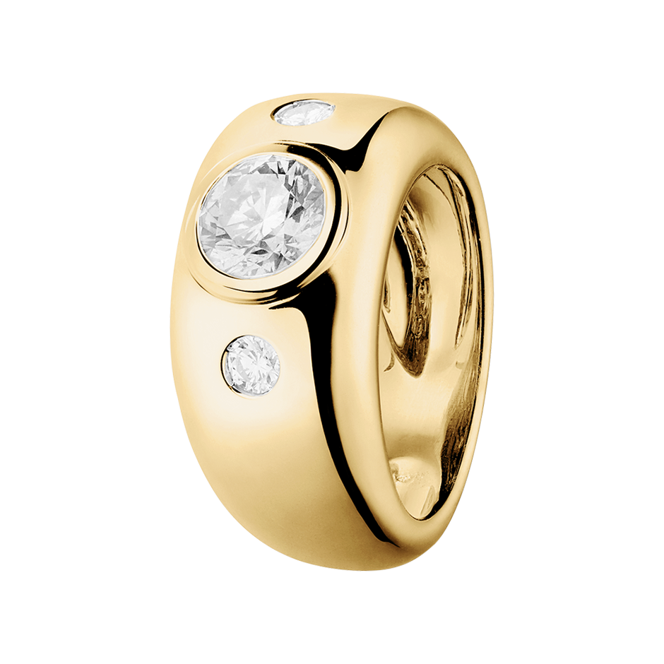 Diamond Ring Naples 1 carat in Yellow Gold