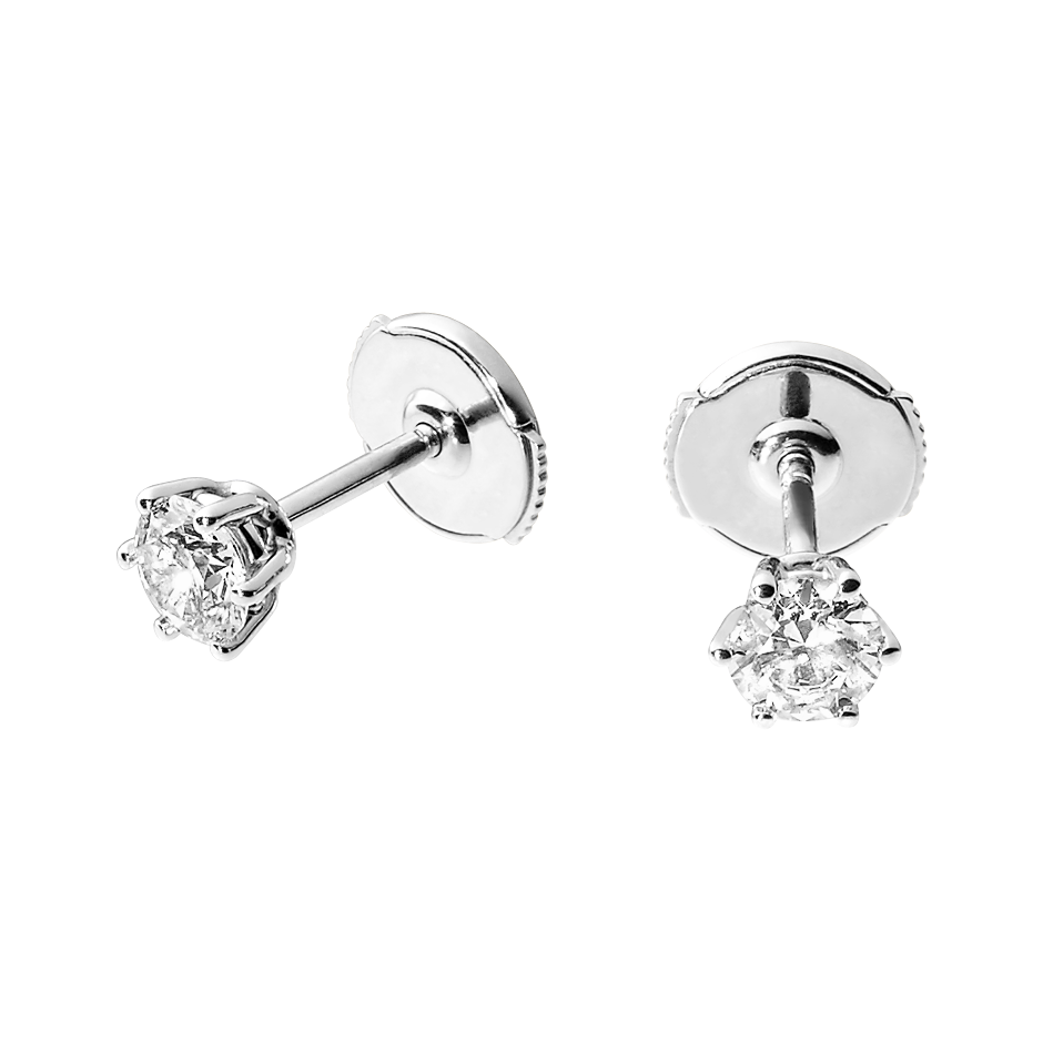 Diamond Stud Earrings 6 Prongs in White Gold