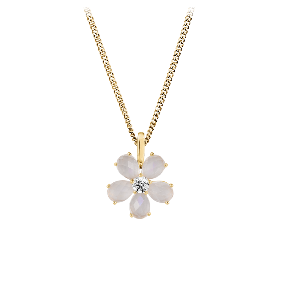 Flowers Pendant Moonstone in Yellow Gold