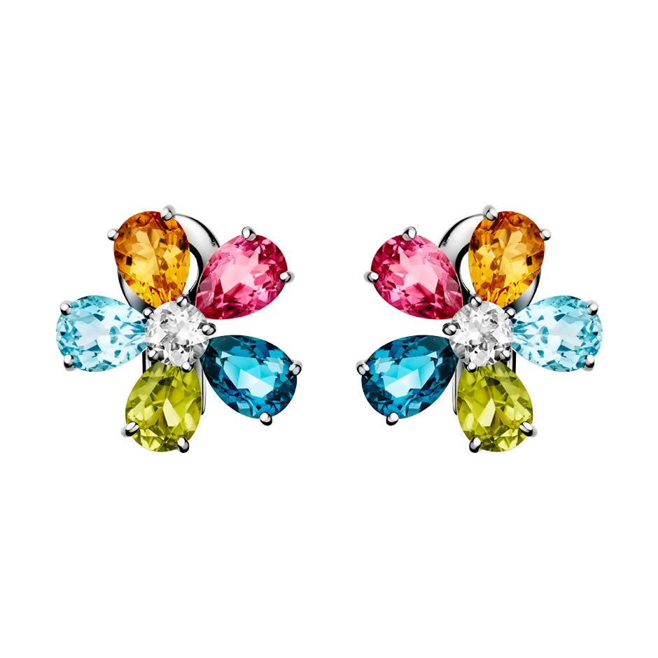 Flowers Stud Earrings Colourful in White Gold