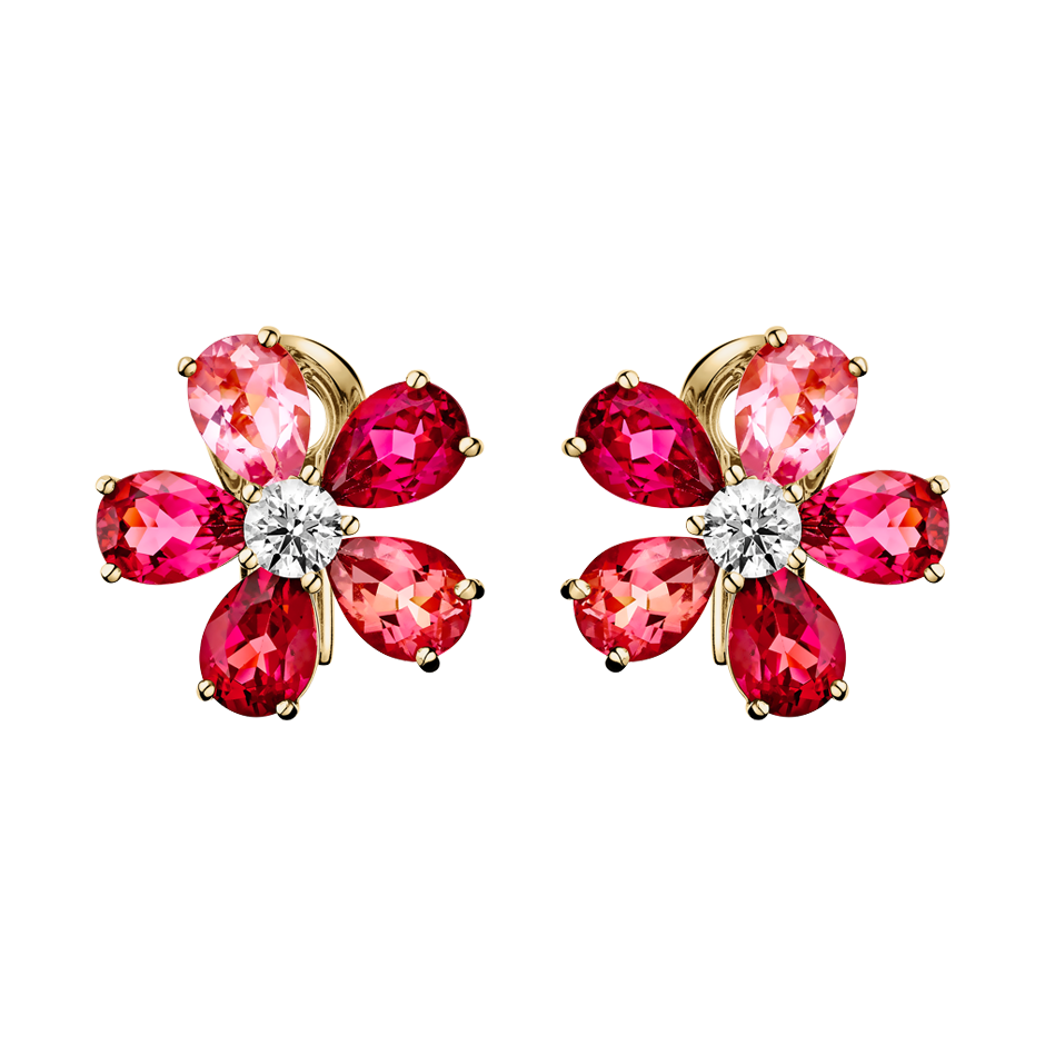 Flowers Stud Earrings Tourmaline in Yellow Gold