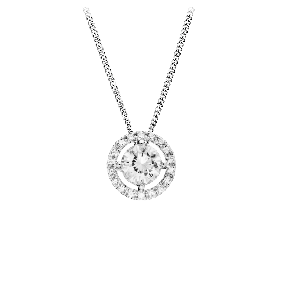 Halo Diamond Pendant with Brilliants in Platinum